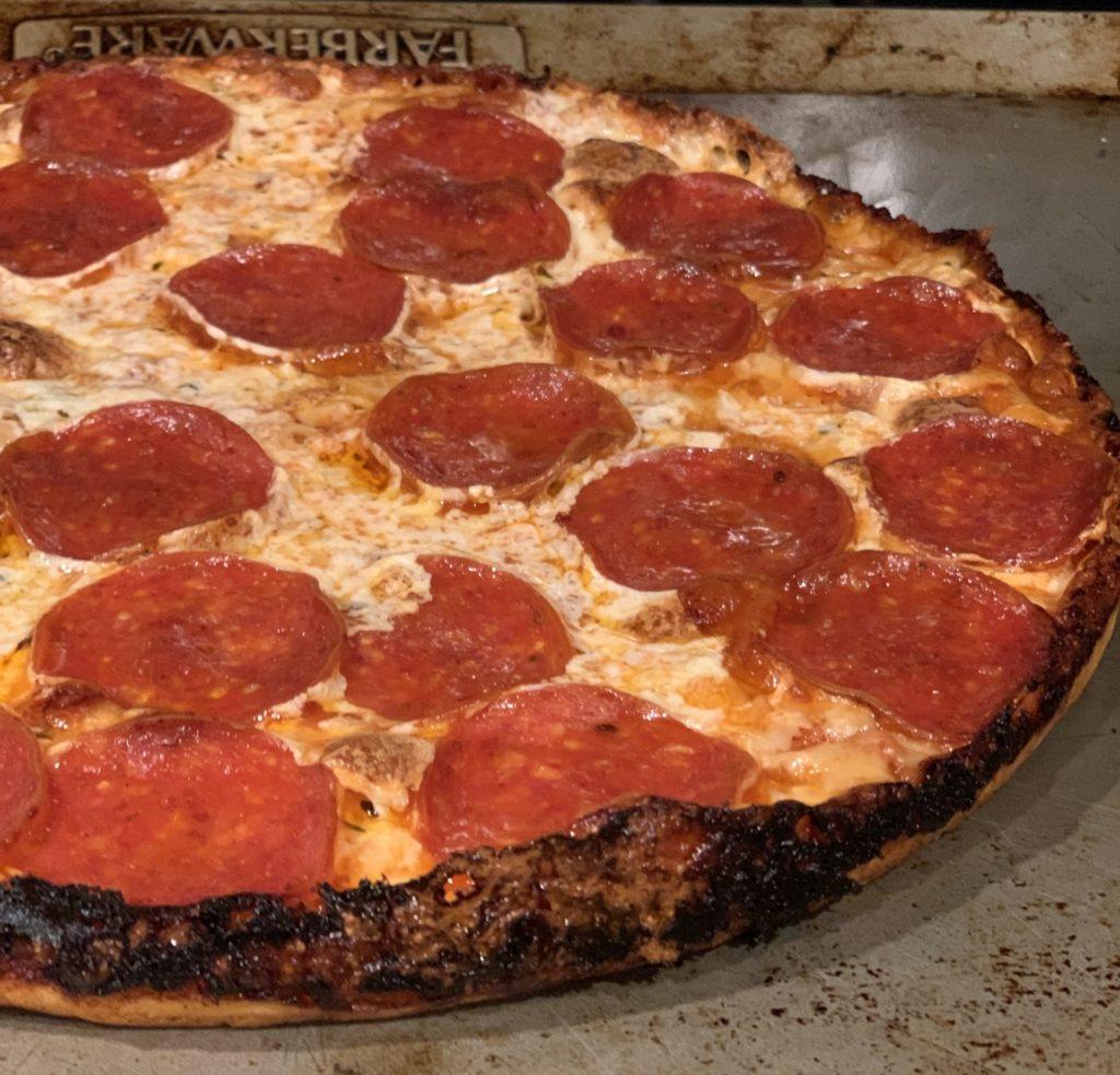 Fresh mozzarella cheddar pepperoni laced edges bar pizza